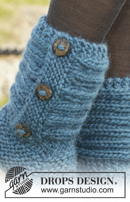 Free Drops Knitting Patterns : One Step Ahead / DROPS 158-47 - Knitted DROPS slippers in garter st with rib ...
