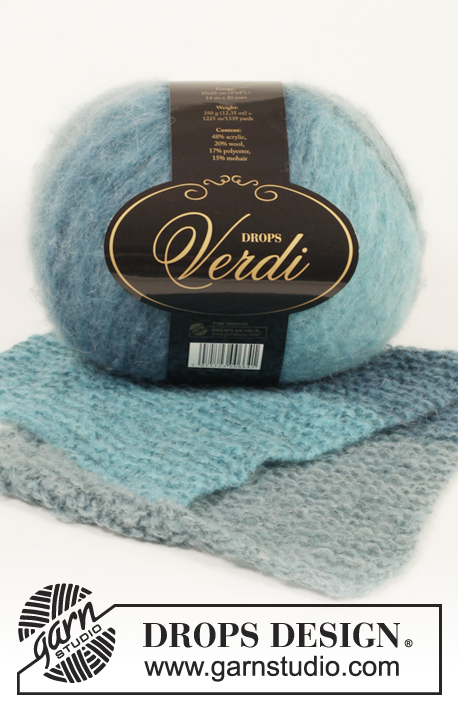 "Brisa de Mar Neck Warmer / DROPS Extra 0-1038 - Knitted DROPS neck warmer in garter st in ""Verdi""."