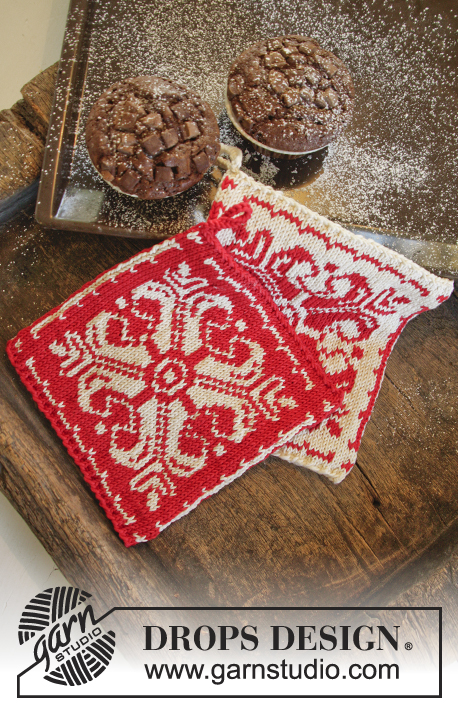 Baking Christmas / DROPS Extra 0-1061 - Knitted pot holders with star and Nordic pattern in DROPS Muskat. Theme: Christmas.
