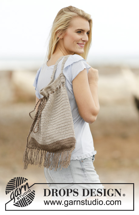 Day Out / DROPS Extra 0-1130 - Crochet bag/tote bag with ties and fringes in DROPS Bomull-Lin or DROPS Paris