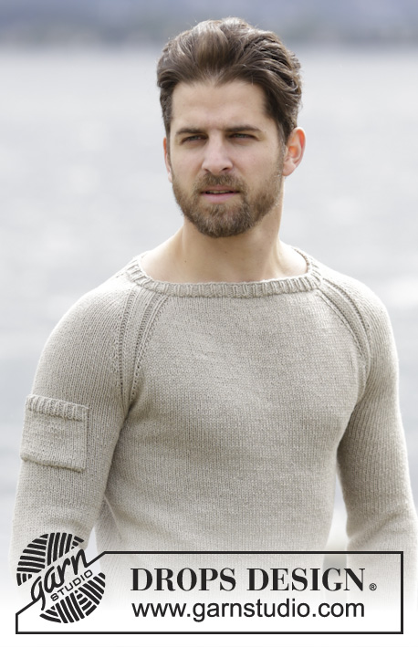 Carter / DROPS Extra 0-1131 - Men's knitted jumper in DROPS Belle, with raglan and worked top down. Size: S - XXXL.