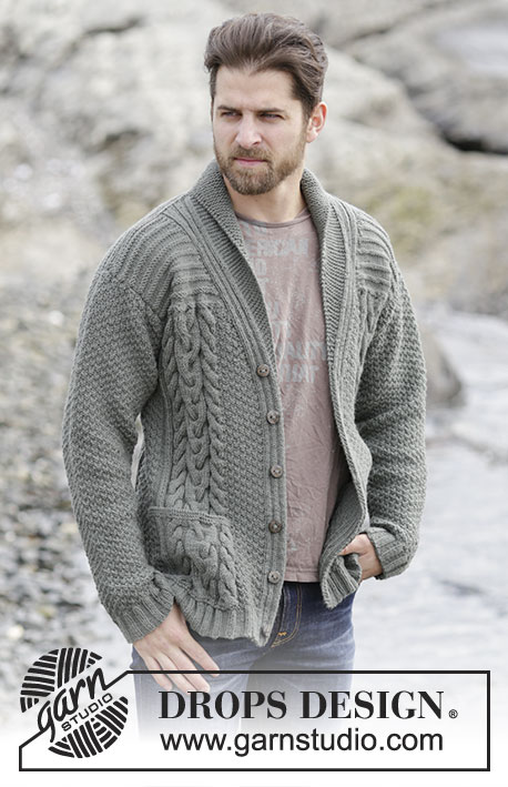 Finnley / DROPS Extra 0-1132 - Men's knitted jacket in DROPS Lima, with cables and shawl collar. Size: S - XXXL.