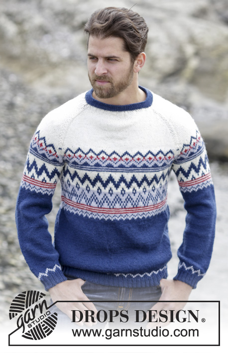 Ólafur / DROPS Extra 0-1146 - Men's knitted jumper in DROPS Karisma or DROPS Merino Extra Fine, with raglan and Norwegian pattern. Worked top down. Size: S - XXXL.