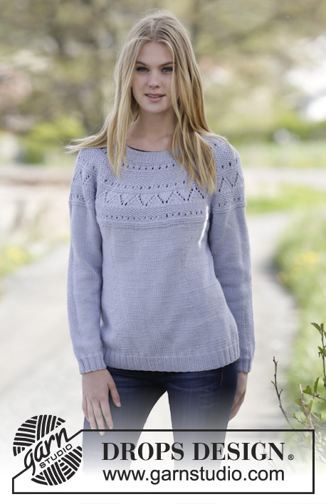 "Lovely & Blue / DROPS Extra 0-1150 - Knitted DROPS jumper with lace pattern, round yoke and moss st in ""Merino Extra Fine"". Size: S - XXXL."