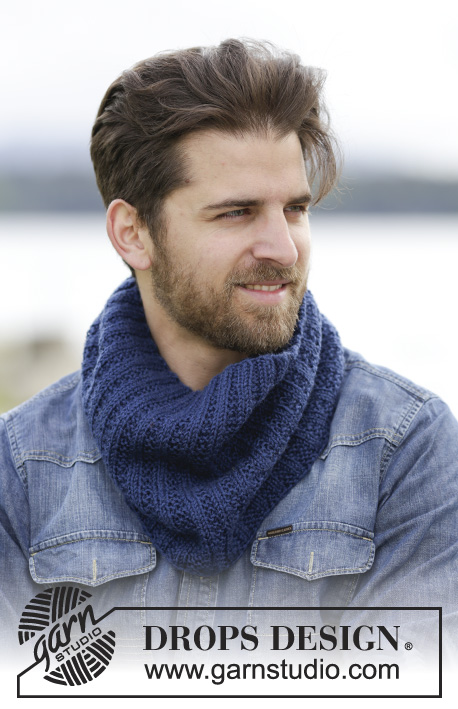 King Cove / DROPS Extra 0-1157 - Men's neckwarmer, knitted in DROPS Karisma with texture and rib.