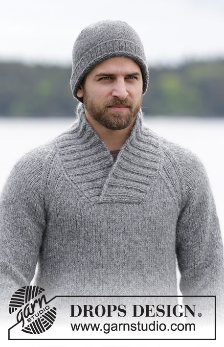 Aberdeen / DROPS Extra 0-1159 - Men's knitted jumper in DROPS Air, with raglan and shawl collar. Size: S - XXXL.