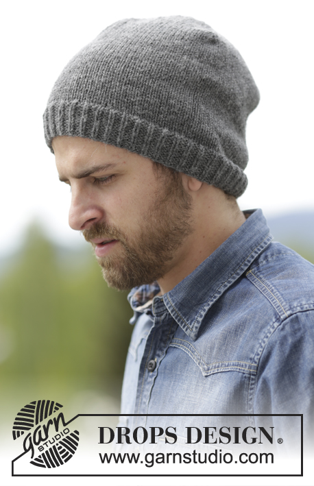 Nellim / DROPS Extra 0-1160 - Men's knitted hat in DROPS Lima or DROPS Puna, in stocking st with rib.
