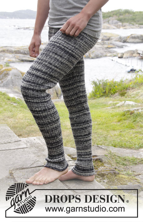 Mountain Stroll / DROPS Extra 0-1161 - Men tights knitted with rib in DROPS Fabel. Size: S - XXXL.