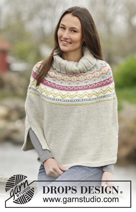 "Neuqu / DROPS Extra 0-1164 - Knitted DROPS poncho with Nordic pattern in ""Nepal"". Size: S - XXXL."