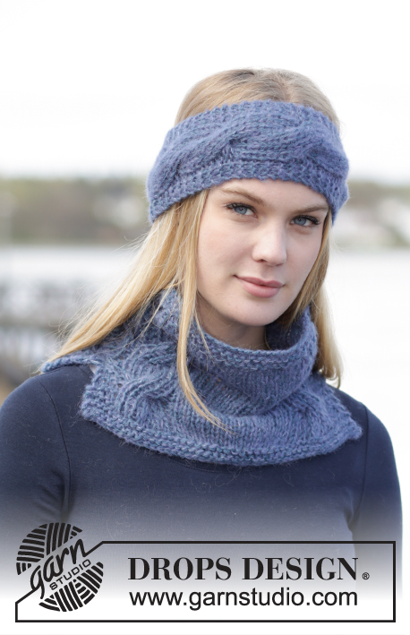 "DROPS Extra 0-1172 - Set consists of: Knitted DROPS head band and neck warmer with cables in ""Brushed Alpaca Silk"" and ""Alpaca""."