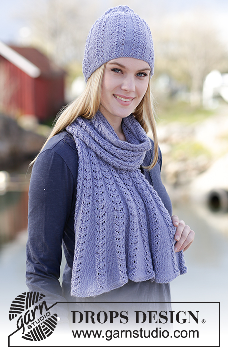 "Ice Flower / DROPS Extra 0-1173 - Set consists of: Knitted DROPS hat and shawl with lace pattern in ""BabyAlpaca Silk""."