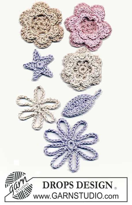 DROPS Extra 0-118 - Various different crocheted DROPS flowers