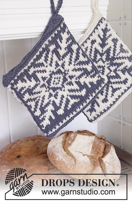 "Stay Cool / DROPS Extra 0-1201 - DROPS Christmas: Knitted DROPS pot holders with snow crystal in Nordic pattern in ""Paris""."
