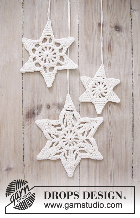 "Wishing Stars / DROPS Extra 0-1205 - DROPS Christmas: Crochet DROPS star with lace pattern in ""Cotton Light""."