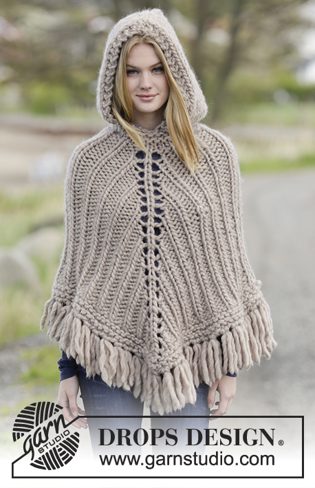 "Earthling / DROPS Extra 0-1221 - Knitted DROPS poncho with hood and fringes, worked top down in ""Polaris"". Size: S - XXXL."