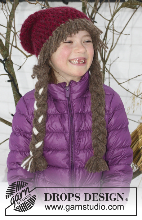 Anna Smiles / DROPS Extra 0-1225 - DROPS Carnival: Crochet DROPS hat with braids and bangs in 2 strands Air. Size 3 - 14 years