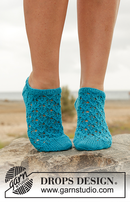 Ankle Sock Knitting Pattern : Splash! / DROPS Extra 0-1244 - Free knitting patterns by DROPS Design