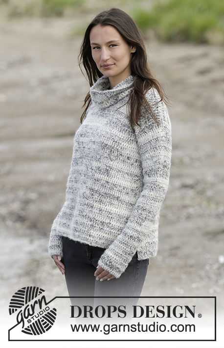 Irish Cloud / DROPS Extra 0-1254 - Maglia DROPS all'uncinetto, con spacchi laterali e collo staccato coordinato, in Brushed Alpaca Silk e Fabel. Taglie: Dalla S alla XXXL.