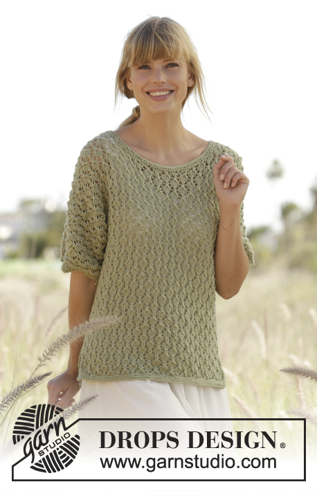"Mariela / DROPS Extra 0-1261 - Knitted DROPS jumper with lace pattern and vents in the side in ""Merino Extra Fine"". Size: S - XXXL."