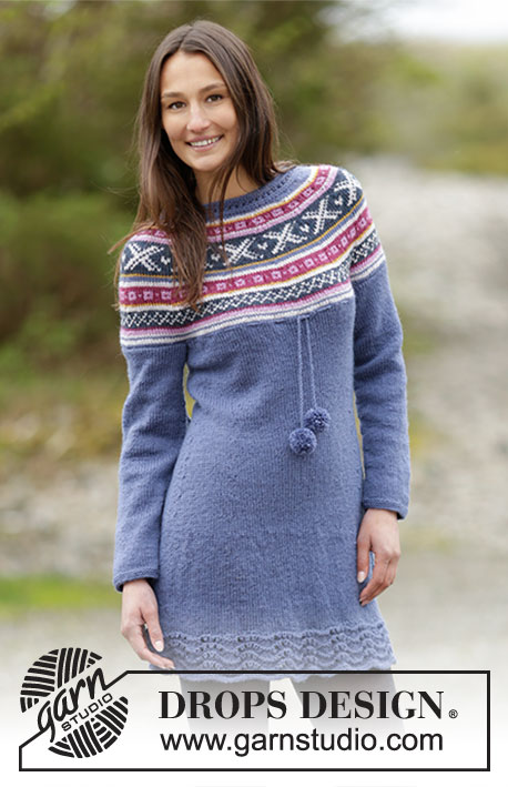 "Moon Valley / DROPS Extra 0-1263 - Knitted DROPS dress with round yoke and Norwegian pattern in ""Karisma"". Size: S - XXXL."