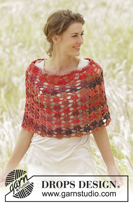 "Chili Flakes / DROPS Extra 0-1272 - Crochet DROPS poncho with fan pattern, worked top down in ""Big Delight"". Size S-XXXL."