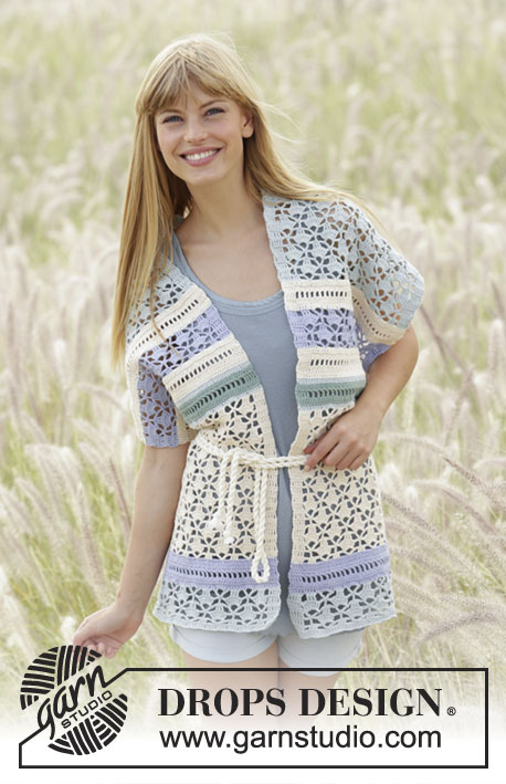 "Spring Lullaby / DROPS Extra 0-1296 - Crochet DROPS vest with lace pattern edge in stripes with ties in waist in ""Safran"". Size S-XXXL."