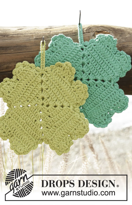 Spot Luck / DROPS Extra 0-1301 - Crochet DROPS pot holder with four-leaf clover in Paris.