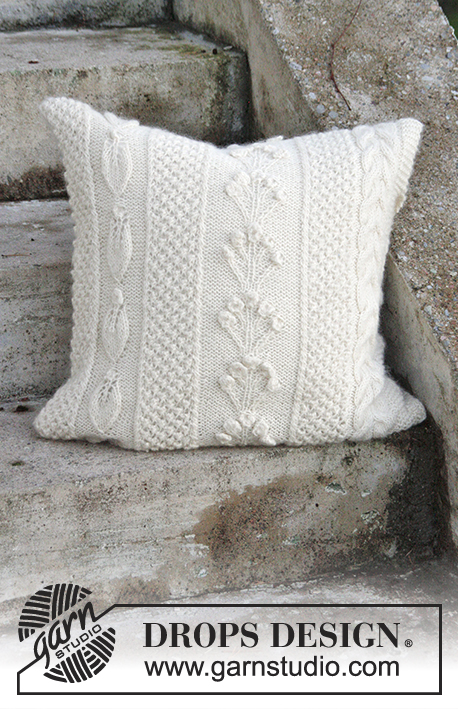 Snow Beads Pillow / DROPS Extra 0-1315 - Free knitting patterns by DROPS Design