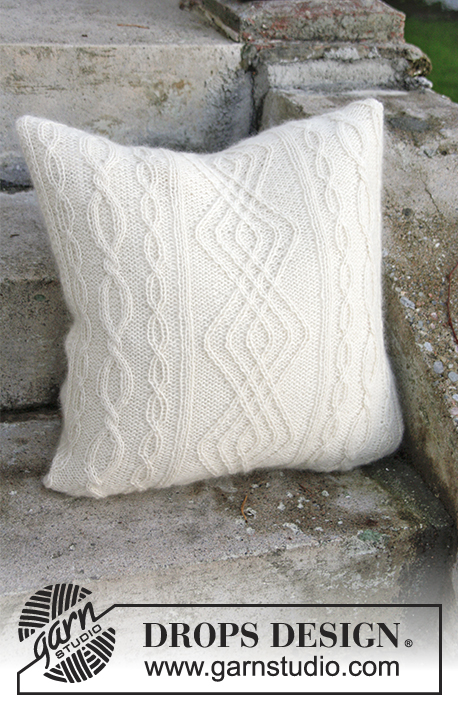Knitted DROPS pillow case with cables in 2 strands Alpaca. & Irish Winter Pillow / DROPS Extra 0-1316 - Free knitting patterns ... pillowsntoast.com