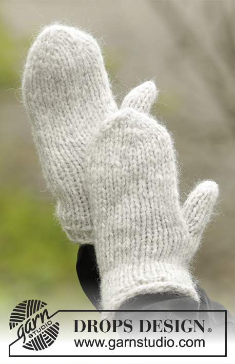Winter Cozy Mittens / DROPS Extra 0-1322 - Knitted basic mittens in 1 thread DROPS Cloud or 2 threads DROPS Air. Size S - L: