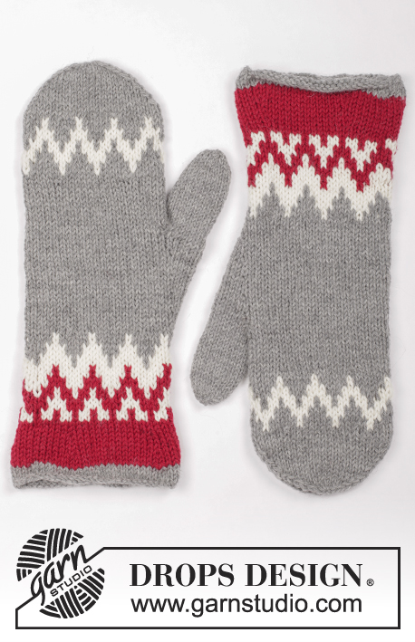 Festive Foraging / DROPS Extra 0-1328 - Knitted and felted mittens with Nordic pattern for Christmas in DROPS Lima.