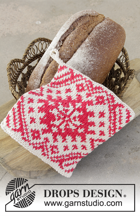 Baking Season / DROPS Extra 0-1330 - Knitted pot holders for Christmas with colour pattern in DROPS Paris.