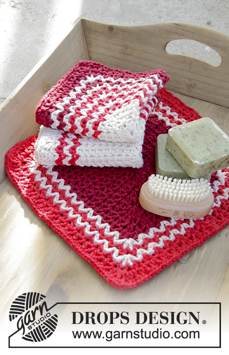 Christmas Ready / DROPS Extra 0-1338 - Crochet cloths with stripes for Christmas in DROPS  Paris.