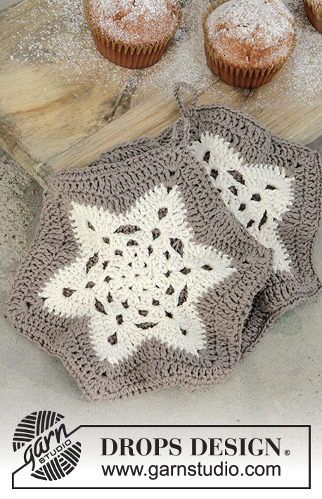 A Star is Baked / DROPS Extra 0-1339 - Crochet pot holders with treble groups in star for Christmas in DROPS Muskat.
