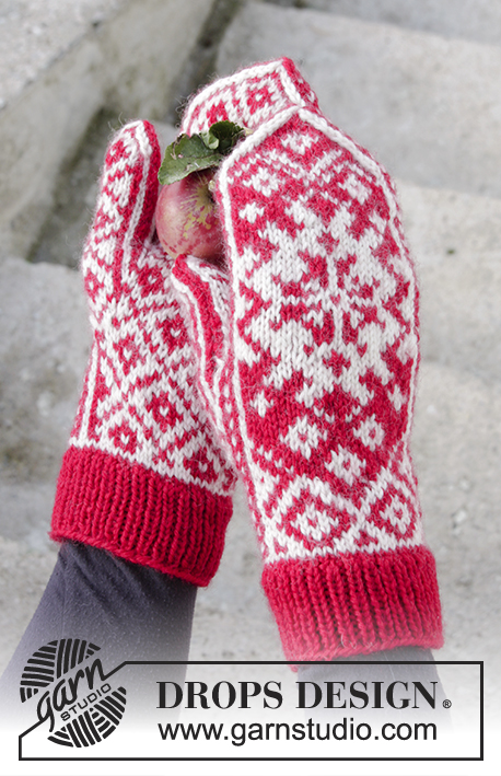 Christmas Raffle / DROPS Extra 0-1341 - Knitted mittens with colour pattern for Christmas in DROPS Karisma.