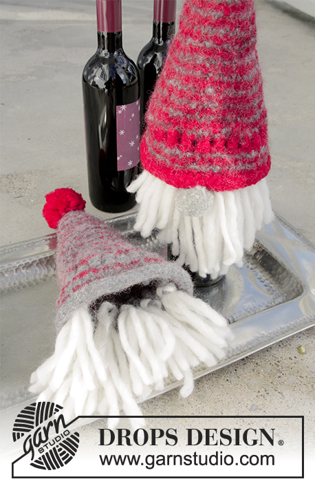 Joyous Break / DROPS Extra 0-1343 - Knitted and felted bottle covers for Christmas in DROPS Eskimo.