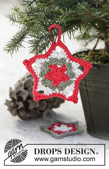 Star Here / DROPS Extra 0-1346 - Crochet stars with stripes for Christmas in DROPS Cotton Light.