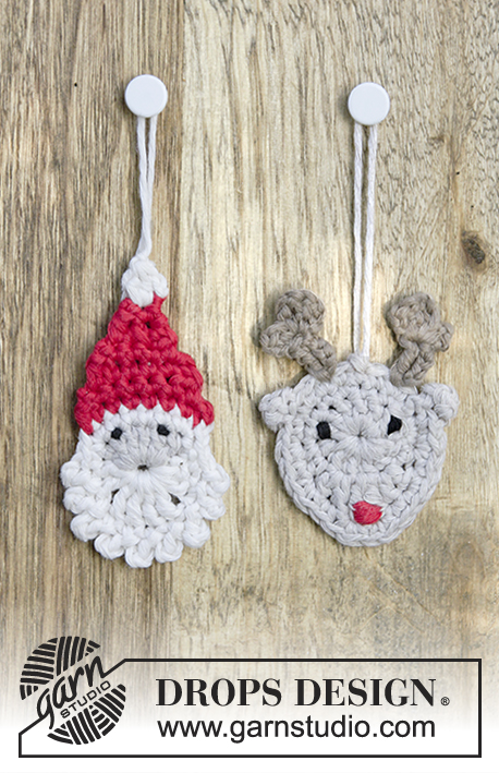 Jolly Good Mates / DROPS Extra 0-1348 - Heklet nisse og reinsdyr til jul i DROPS Cotton Light.