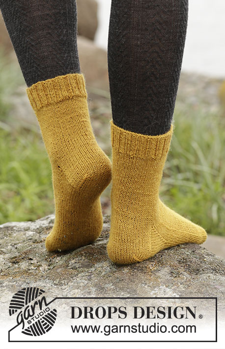 Mustard Toes / DROPS Extra 0-1365 - Knitted socks in DROPS Fabel.