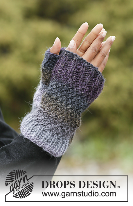 Sea Smoke / DROPS Extra 0-1370 - Set consists of: Knitted hat, neck warmer and wrist warmers with double moss stitch in DROPS Big Delight.