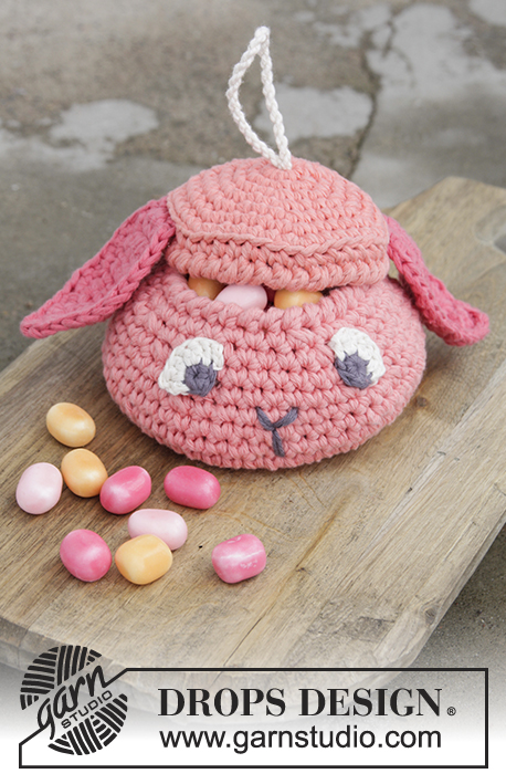 Gummy Bunny / DROPS Extra 0-1375 - Basket with lid for Easter, worked in 2 strands DROPS Paris.