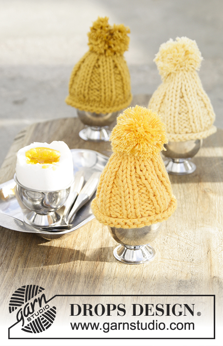 Chilled Eggs / DROPS Extra 0-1377 - Egg warmer for Easter, worked back and forth in DROPS Paris.