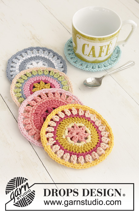 Breakfast Flavours / DROPS Extra 0-1386 - Crocheted coasters.