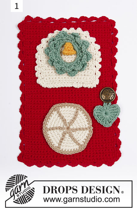 Advent Calendar Doors / DROPS Extra 0-1392 - Crocheted separate Advent calendar doors with decorations. The pieces are worked in DROPS Safran.
