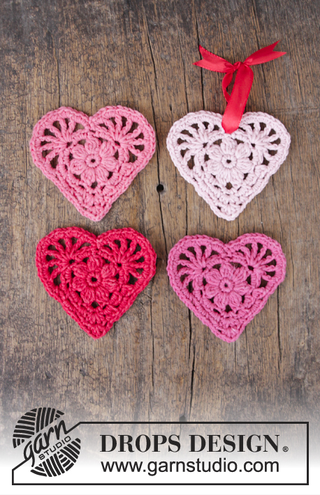 Rejoice / DROPS Extra 0-1394 - Crochet heart for Christmas. 