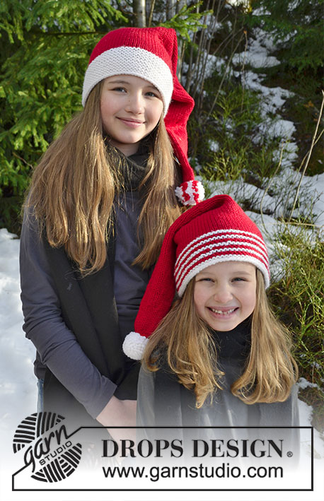 Sweet Carolers / DROPS Extra 0-1395 - Hat with striped edge and hat with white edge for kids for Christmas. Piece is knitted in DROPS Nepal.