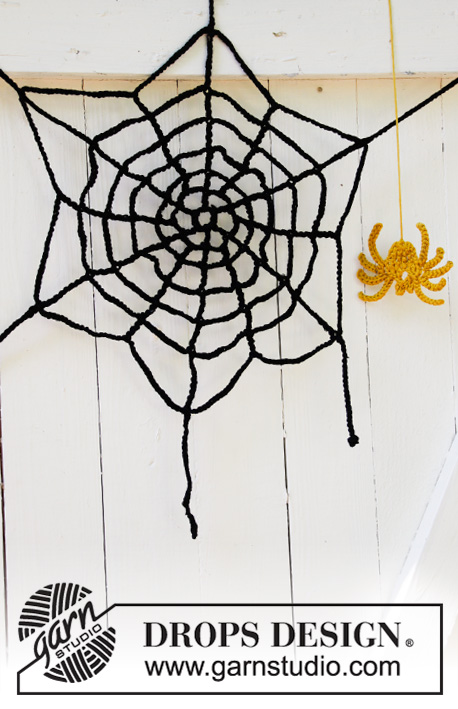 Miss Spider's House / DROPS Extra 0-1426 - Crocheted spider's web in DROPS Paris. Theme: Halloween.