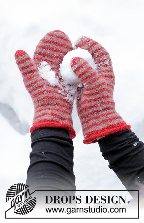 Snowball Fight / DROPS Extra 0-1430 - Knitted and felted mittens for adult, with stripes, in DROPS Lima. Theme: Christmas.