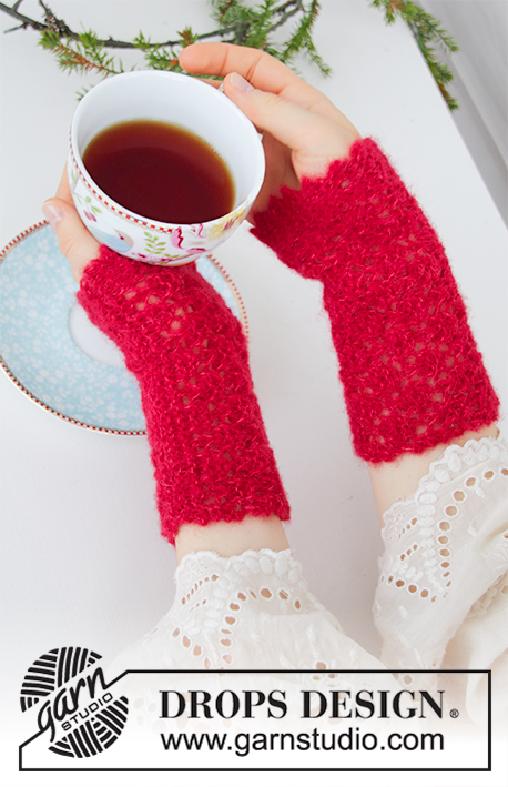Holiday Pause / DROPS Extra 0-1439 - Knitted wrist warmers in DROPS Brushed Alpaca Silk. The piece is worked sideways with garter stitch, lace pattern and picot edge. Theme: Christmas.