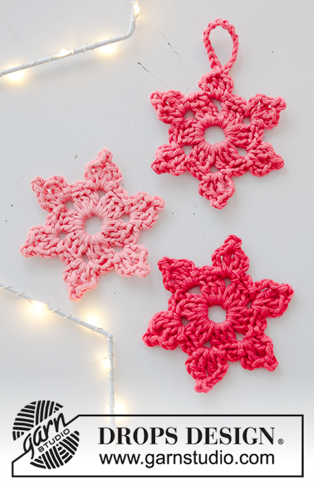 Pink Ninja / DROPS Extra 0-1443 - Crocheted star in DROPS Paris. Theme: Christmas.